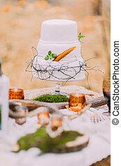 beau, gâteau, naturel, lavande, mariage