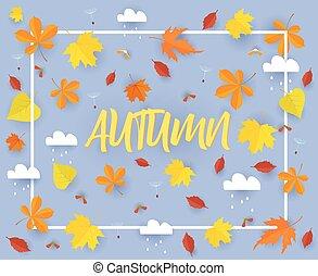 beau, gabarit, coloré, feuilles, autumn., pluie, automne, clouds.cut, vecteur, papier, fond, automne, bannière, illustration.