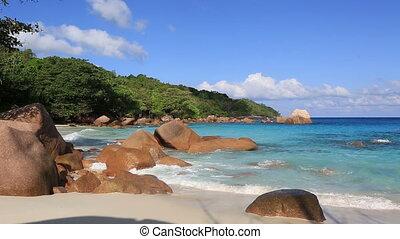beau, galets, lazio., indien, granit, océan, plage, anse