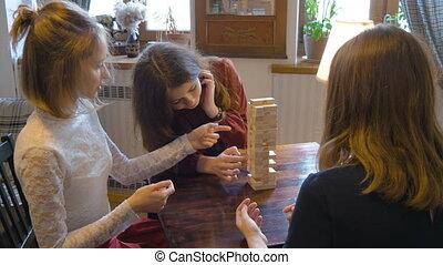 beau, game., girl, jeune, jouer