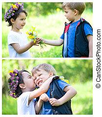 beau, garçon, donner, parc, girl, fleurs