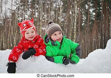 beau, garçon, girl, hiver, sn