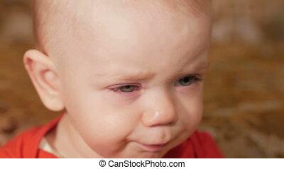 beau, garçon, gros plan, allergies., 1, bébé, year., pleurer, enflé, disease., eyes., lutter, était, rouges, gosse