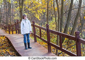 beau, garçon, marche, bois, parc, ensoleillé, jeune, chemin, jour automne