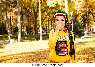 beau, garçon, peu, feuilles, parc, américain, automne, fall., noir, africaine, portrait, child., heureux