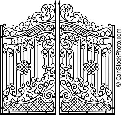 beau, gates., ornement, noir, fer, blanc