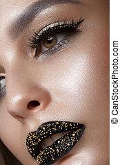 beau, girl, à, noir, créatif, art, make-up., beauté, face.