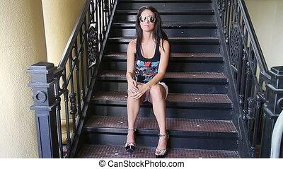 beau, girl, étapes, séance