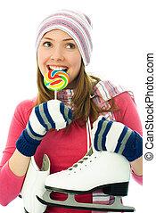 beau, girl, aller, patinage sur glace