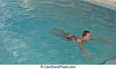 beau, girl, aller, piscine, dehors