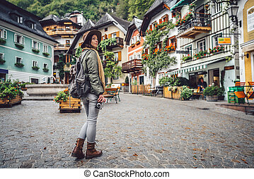 beau, girl, alpin, village