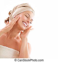 beau, girl, après, bain, toucher, elle, face., skincare
