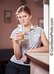 beau, girl, bière