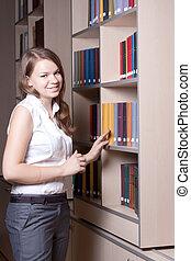beau, girl, bibliothèque