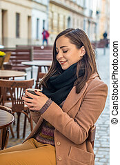beau, girl, café buvant