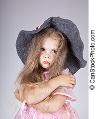 beau, girl, casquette, jeune, triste