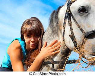 beau, girl, cheval