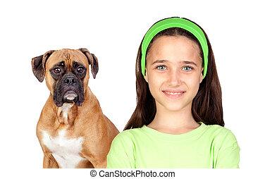 beau, girl, chien, elle