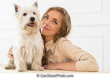 beau, girl, chien