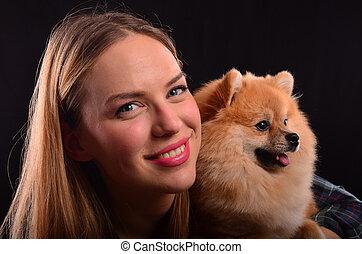 beau, girl, chien, pomeranian