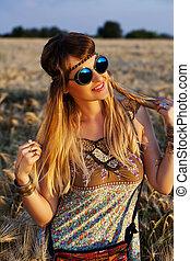 beau, girl, coucher soleil, hippie