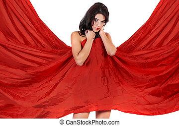 beau, girl, couverture, elle-même, à, a, tissu rouge