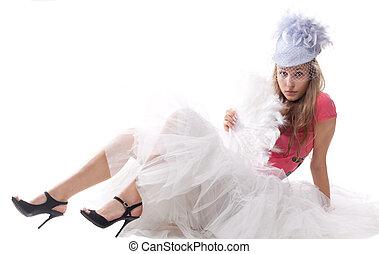 beau, girl, déguisement, carnaval