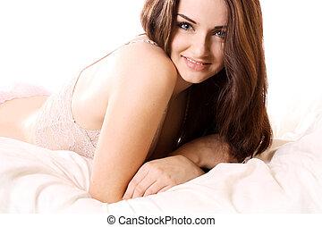 beau, girl, dans lit