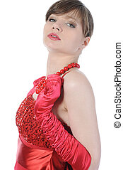 beau, girl, dress., rouges
