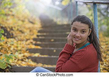 beau, girl, escalier, séance