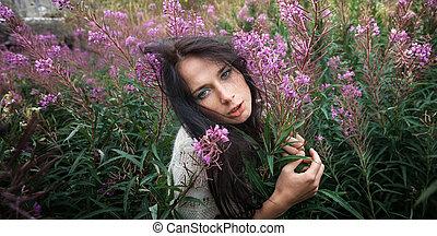 beau, girl, fleurs