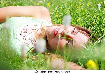 beau, girl, herbe, jeune, délassant