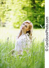 beau, girl, herbe, séance