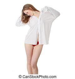beau, girl, hommes, chemise, blanc