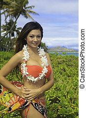 beau, girl, jardin, hawaï