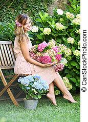 beau, girl, jardin