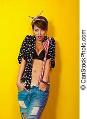 beau, girl, jean, chemise