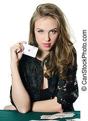beau, girl, jeu carte