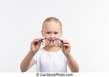 beau, girl, lunettes, blanc, enfant