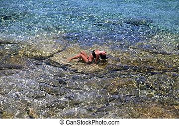 beau,  girl, méditerranéen,  transparent, mer
