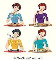 beau, girl, mange, délicieux, repas