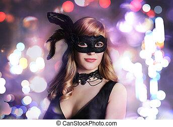 beau, girl, masque, carnaval
