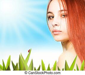 beau, girl, pelouse