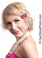 beau, girl, perles