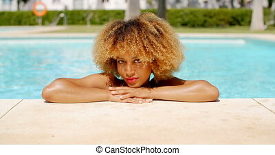 beau, girl, piscine, refroidir, natation
