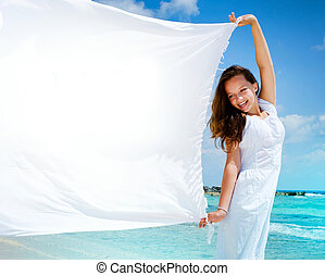 beau, girl, plage, blanc, écharpe