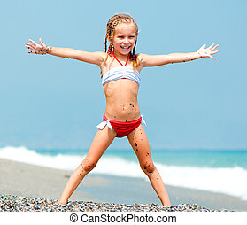 beau, girl, plage, figure