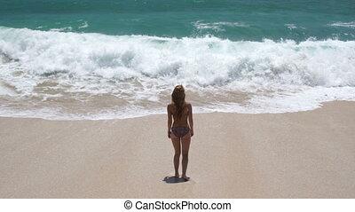 beau, girl, plage, jeune, heureux