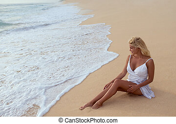 beau, girl, plage