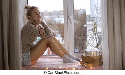 beau, girl, rebord fenêtre, séance
